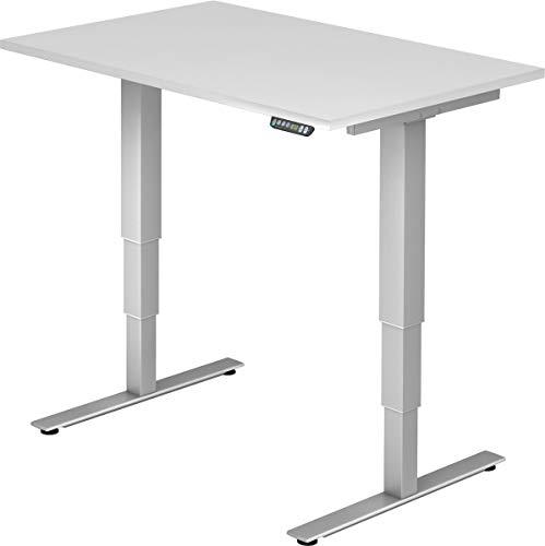 bümö® ergonomischer Schreibtisch elektrisch höhenverstellbar | elektrischer Bürotisch | höhenverstellbarer Büroschreibtisch mit Memoryfunktion in Rechteck: 120x80 cm Weiß