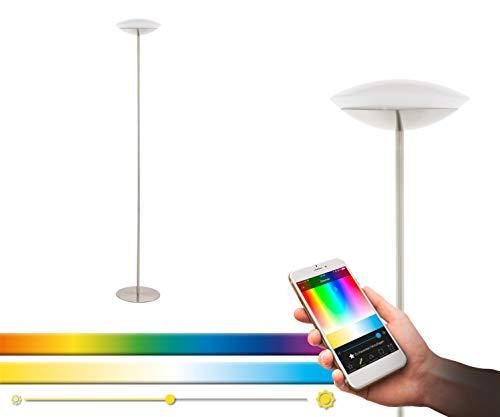 EGLO Connect Frattina-C Lampe sur pied à LED 1 ampoule en acier et plastique Nickel mat Blanc Changement de température (chaud, neutre, froid) RVB à intensité variable Lampe avec interrupteur
