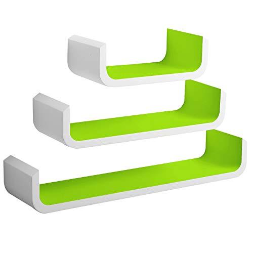 WOLTU RG9273gn-c Wandregal U Form Bücherregal Wandboard, 3er Hängeregal, weiß/grün