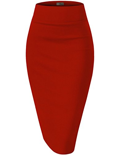 Womens Premium Stretch Office Pencil Skirt KSK45002 RED 1X