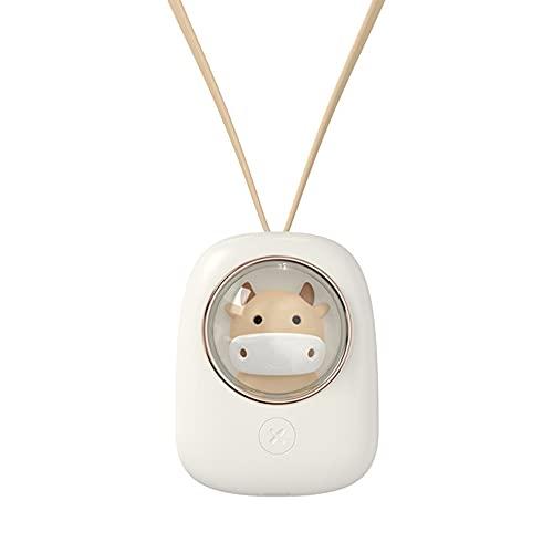 SODIAL Ventilador de Cuello Colgante, Ventilador de Mano Lindo Mascota de Escritorio de Dibujos Animados con Carga USB para Leer, Andar en Bicicleta (Vaca)