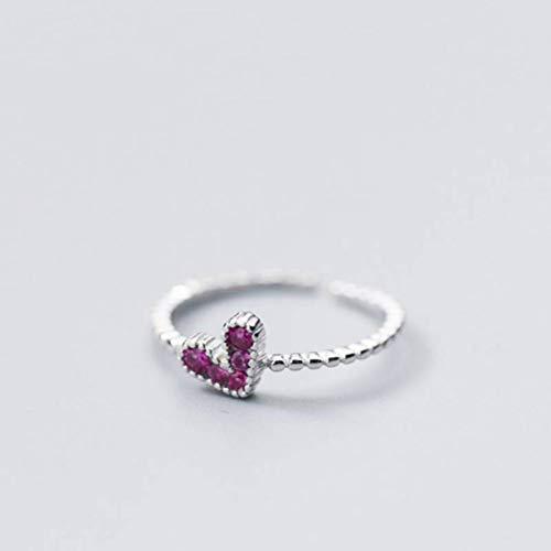 WOZUIMEI S925 Anillos de Plata el Estilo Japonés Y Coreano de Las Mujeres Ama el Anillo de Diamantes Púrpura de Apertura Del Anillo de Dedo Índice Puede Ser una Joyería de Estilo DulceAnillo de plata
