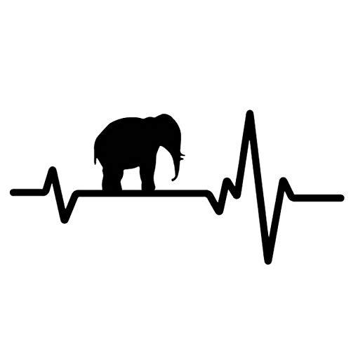 RJGOPL Autoaufkleber 16,9 cm * 7,9 cm Creative Elephant Heart Autodekor Autotür Aufkleber Vinyl Aufkleber Schwarz/Silber C4-1604Schwarz
