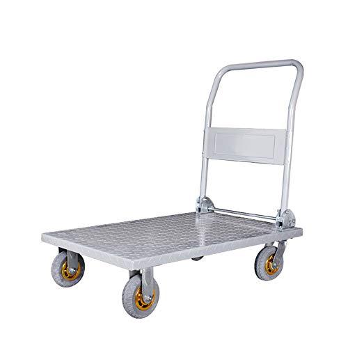 Trolley à outils en acier, usine entrepôt Quincaillerie camion à plateau Multifonction Petit panier Muet trolley à outils pliant Peut supporter 600 kg (Color : A, Size : 90 * 60 * 90CM)