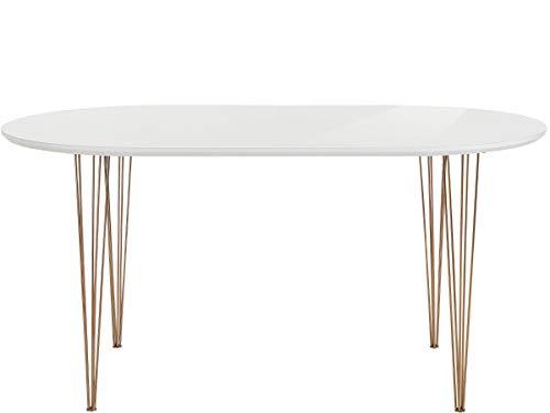 Loft 24 A/S Oval Esstisch Esszimmertisch Modern Esszimmer Küche Tisch MDF Metallbeine weiß Hochglanz (weiß Hochglanz, 120 cm Breite)