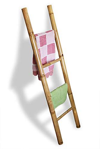 LioLiving®, Bambus Handtuchhalter 150 x 41 x 6 cm (L x B x T) Dekoleiter Kleiderständer Handtuchleiter Garderobe Natur (#400039)