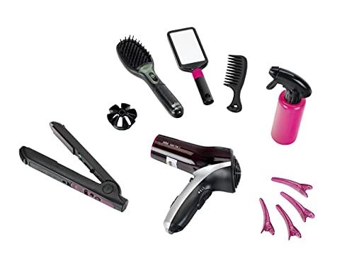 Theo Klein 5873 Set de peluquera Satin Hair 7, Con plancha para el pelo, cepillo y mucho ms, Secador a pilas, Medidas del embalaje 49.5 cm x 8 cm x 26 cm, Juguete para nios a partir de 3 aos