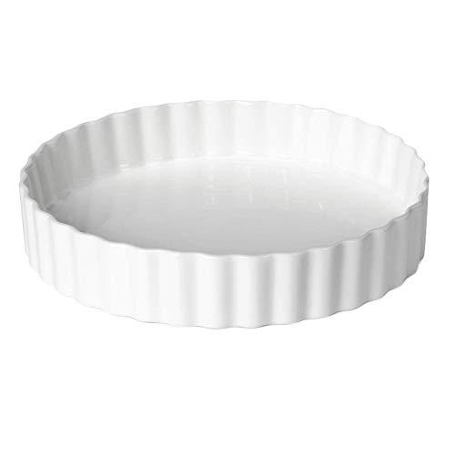Huante - Plato redondo de cerámica para queso, de 8 pulgadas, para pizza, plato plano occidental, horno de alta temperatura, 600 C, color blanco
