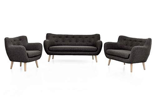 Meubelvreugde bank Jana bank set sofagarnituur fauteuil enkele sofa met massief houten poten driezits Garnitur (3-tlg.) Antraciet - beuken