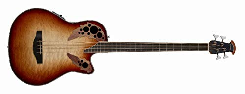 Ovation Celebrity Elite Exotic Mid Depth Bass, Cognac Burst/Natural Quilted Gloss CEB44X-7C