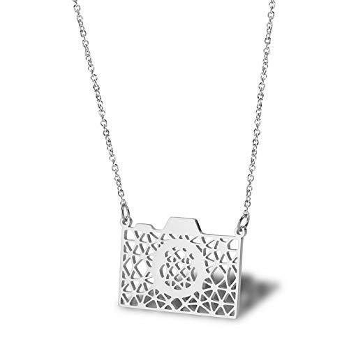Daesar Collar de Mujer Cámara Colgantes Acero Inoxidable Mujer Collar de Mujer Plata