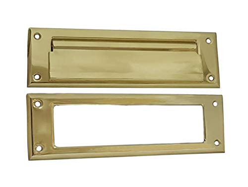QCAA Solid Brass Mail Slot, with Solid Brass Interior Frame,10