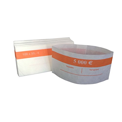 1000 Stück Geldbanderole Papier für:100 x 50 € orange, Banderolen für Euro Geldscheine