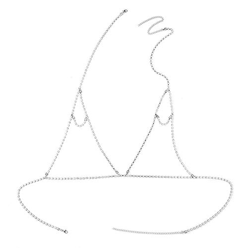 ANAZOZ Damen Körperschmuck Körperkette Brustkette Legierung BH Kleidung Zirkonia Büstenhalter Frauen Bikini Body Kette Silber Ethnische Art Bikini Party Kette