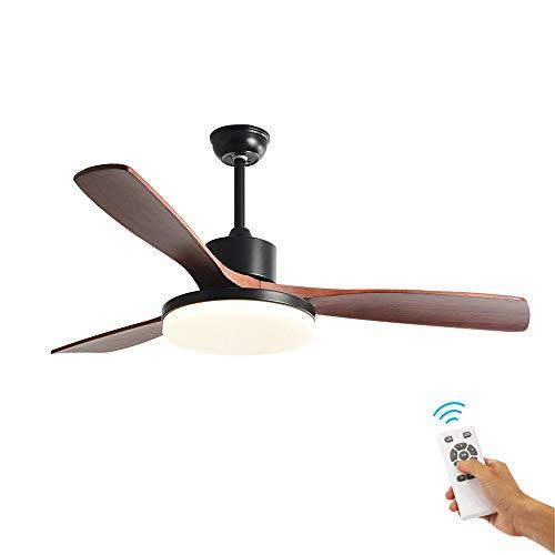 """48""""LED-plafondventilator, binnenplafondventilatoren met verlichtingsset en afstandsbediening, 3-bladen rustiek hout geruisloze omkeerbare motor, 3 snelheden, 3 kleurtemperatuur, voor huisdecoratie"""