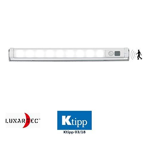 Lunartec LED Leiste Batterie: Schwenkbare Lichtleiste, Bewegungsmelder, 9 SMD-LEDs tageslichtweiß (LED Licht mit Bewegungsmelder)