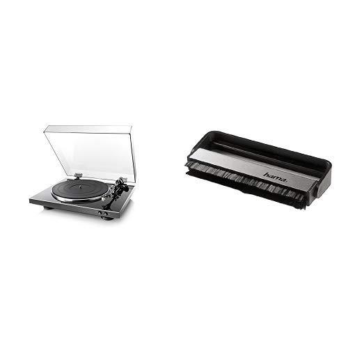 Denon DP-300 F Vollautomatischer Plattenspieler schwarz & Hama Carbon-Faserbürste für Langspielplatten, schwarz/silber