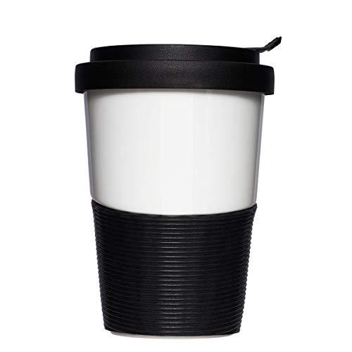 Mahlwerck Wave Kaffeebecher to go, Porzellan Kaffee to go Becher mit auslaufsicherem Deckel, Schwarz & Weiß, 350ml