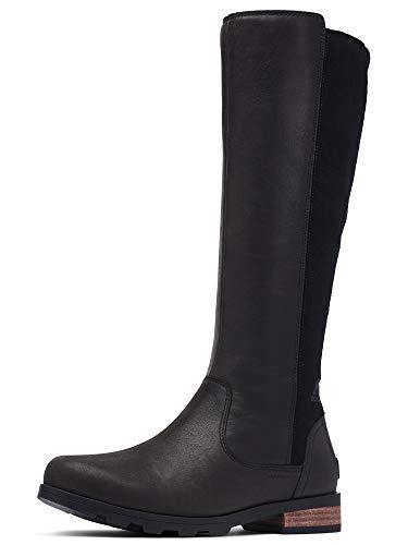 Sorel Women's Emelie Tall Boot - Light Rain and Heavy Rain - Waterproof - Black - Size 9.5
