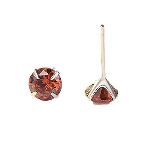 Regalo plata pura s925 zircón orejas uñas de piedra incrustada en plata accesorios de cuatro embragues pendientes 925 pendientes de 7 mm con tapón de pegamento Palladio Rojo de Granada (Enero)
