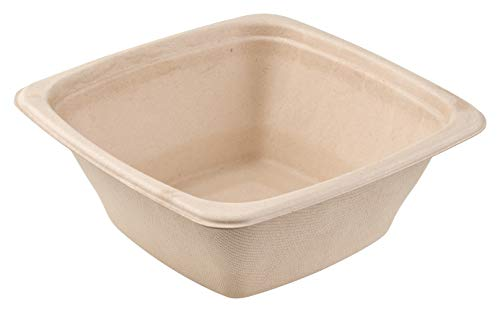 16 oz Eco Friendly Bowls Disposable Compostable Container - Square Bowl Tree Free Sugarcane Bagasse Meal Prep Bento Boxes Take Out Catering Microwavable Deep Container by EcoQuality (300)