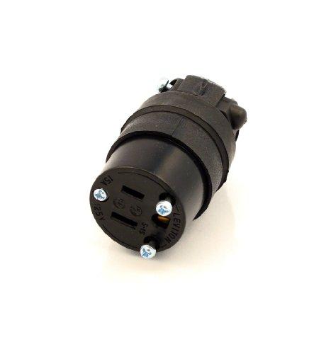 Leviton 515CR 15 Amp, 125 Volt, Cord Outlet, Rubber, Grounding, Black
