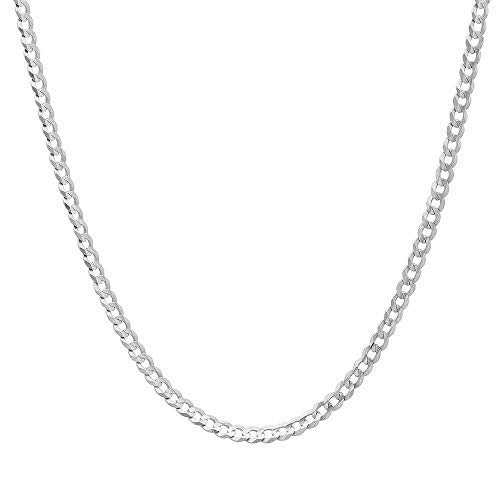 Authentic Solid Sterling Silver Cuban Curb Link .925 Rhodium Necklace Chains 2MM - 8.5MM, 16  - 30 , Curb Link Chain Necklace, Men & Women, Made In Italy, Next Level Jewelry - 3MM,24
