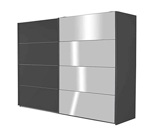 Schwebetürenschrank Kleiderschrank Schlafzimmerschrank Schiebetürenschrank mit Spiegeltür | 2-türig | Dekor | Grau Metallic | BxHxT 271 x 210 x 62 cm