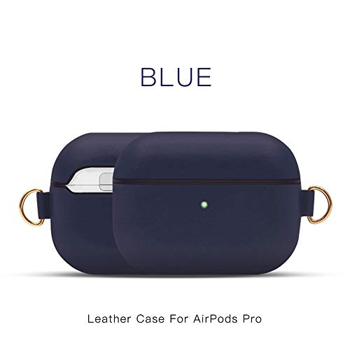 Khcr-CL AirPods Pro Schutzhülle, Echtleder Schutzhülle tragbare, stoßfeste Apple AirPods Pro-Kopfhörer (LED an der Vorderseite sichtbar) Unterstützt kabelloses Aufladen,Blau