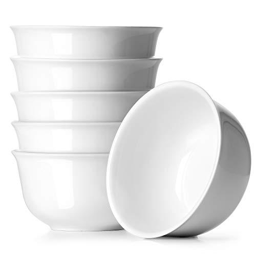 Dowan - Juego de 6 cuencos de postre pequeños para aperitivos, arroz, condimentos, platos auxiliares o helados, aptos para lavavajillas y microondas, color blanco