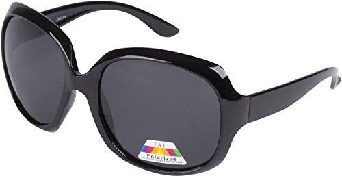 Sakkas GA4565 Retro Vintage Oversized Frame Fashion Sunglasses - Black - Smoke Lens