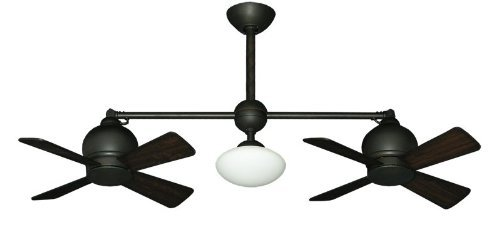 Metropolitan Modern Double Ceiling Fan in Oil Rubbed Bronze with Light & Remote