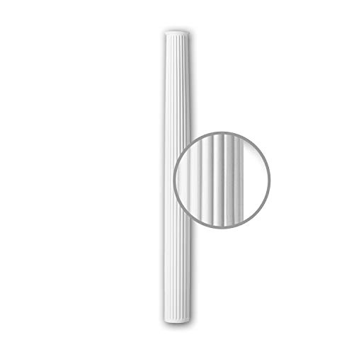 Fuste de media columna Profhome 416301 Moldura de fachada Columna Elemento de fachada estilo corintio blanco