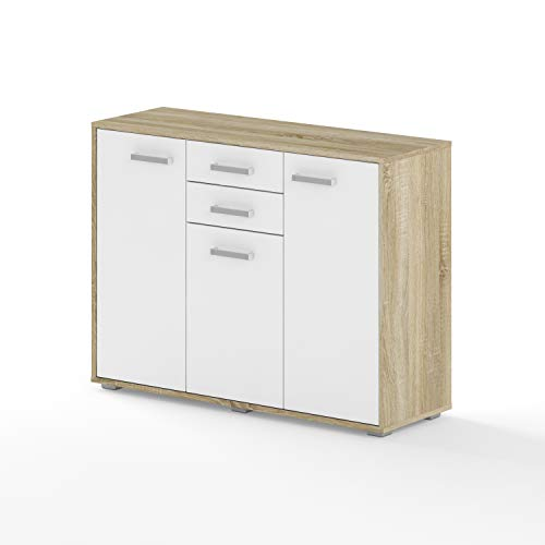 BIM Furniture Dynamic24 Aurora VII - Cómoda (105 x 35 x 80 cm, con 2 cajones), color blanco