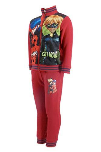 Miracolous Ladybug and Cat Noir - Sweatshirt mit Volldruck-Reißverschluss und Hose - Mädchen, Rot 4 Jahre-104  cm