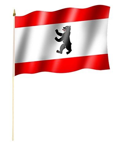 Sportfanshop24 Stockflagge/Stockfahne Berlin Flagge/Fahne ca. 30 x 45 cm mit ca. 60cm Stab/Stock
