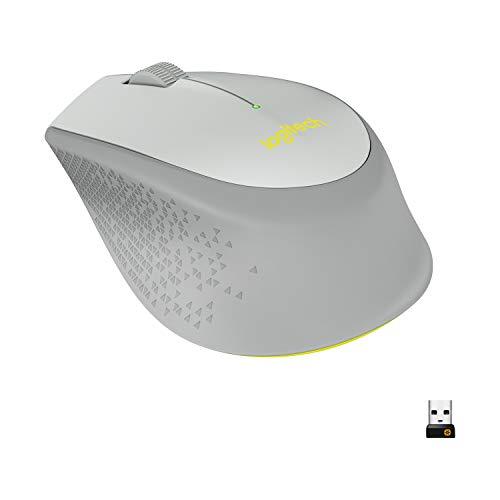 Logitech M320 Kabellose Maus, 2.4 GHz Verbindung via USB-Empfänger, 1000 DPI Optischer Sensor, 18-Monate Akkulaufzeit, 3 Tasten, PC/Mac - Grau