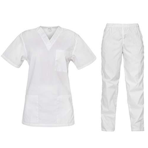 B-well Cesare Unisex-Schrubb-Set Schlupfkasack + Schlupfhose Set Medizin Arzt Uniform Schlupfjacke Oberteil mit Hose Medizinische Berufsbekleidung Weiß M