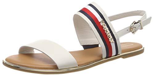 Tommy Hilfiger Damen Flat Sandal Corporate Ribbon Zehentrenner, Weiß (Whisper White 121), 41 EU