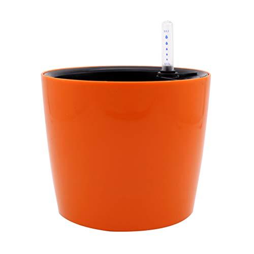 yardwe para maceta redonda con riego automático con indicador de agua macetas de plástico para Interior o exterior (naranja)