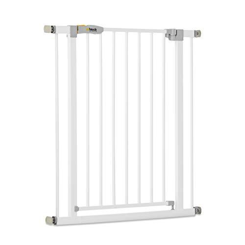 Hauck Open N Stop KD Türschutzgitter/Treppengitter, 75-80 cm, ohne Bohren/erweiterbar mit Verlängerungen von 9 cm und 21 cm bis 122 cm/ kombinierbar mit Y-Spindeln/ Metall/beidseitig schwenkbar/ weiß