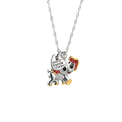 Dragonface Cute Pink Elephant Shape Pendant Necklace Never Forget I Love You Lettering Pendant Lovers Necklace