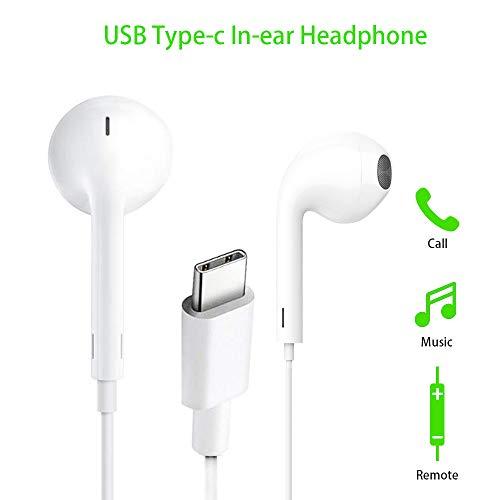 USB Tipo C Auriculare, FLYHANA USB C Auriculares In-Ear con Micrófono, Estéreo Auriculares con Cable Aislamiento de Ruido Avec Control Remoto Compatible con Huawei,Google Pixel,Sony,MI etc.