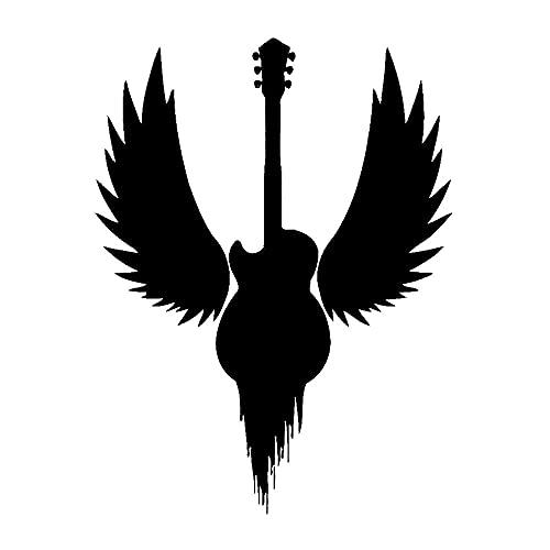 Wings Fly Guitar Bass Heavy Metal Hard Rock Música Vinilo Etiqueta de la pared Etiqueta engomada del coche Calcomanía Niño Dormitorio Estudio musical Bar Club Decoración para el hogar Mural
