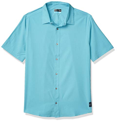 PGA TOUR Men's Short Sleeve Eco Woven Dobby Button Down Shirt, Gulf Stream Heather, Small