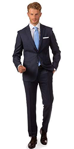 Linus Business Herren Slim Fit Anzug in blau - attraktiver Pfauenauge Struktur (Birdseye) (90)