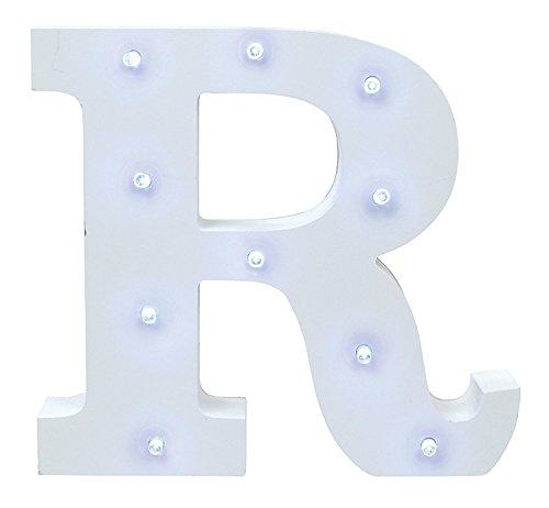 AntEuro Luces Decorativas LED, Diseño de Alfabeto de Madera en Color Blanco Letras Luces - Letra R