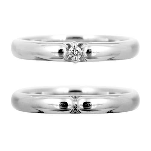 [ココカル]cococaru ペアリング シルバー リング2本セット ダイヤモンド マリッジリング 結婚指輪 日本製(レディースサイズ8号 メンズサイズ19号)