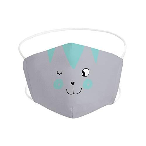 Pekebaby Mascarilla Infantil de tela lavable reutilizable 2 capas + bolsillo con 1 filtro incluido, diseño 003 TABBY GRIS, doble ajuste elástico