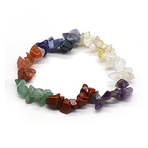 YSJSPOL Piedras y Cristales Cristal Natural Roca Roca Pulsera de Cuarzo Jade Agate Siete Chakra Energía Curación Piedra Amatista Citrina Mujer Joyería Regalo